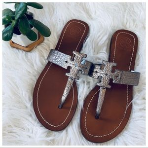 TORY BURCH Leather Metallic Sandals